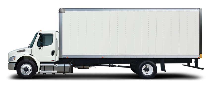 American white delivery truck side view. Isolated on a white background.