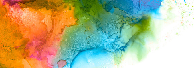 Art Abstract paint blots background. Alcohol ink colors. Marble texture. Horizontal long banner.