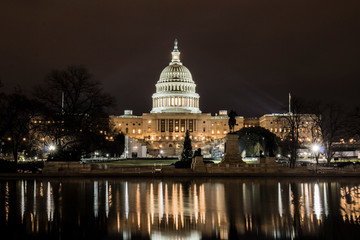 United States Capitol Building Lit Up At Night