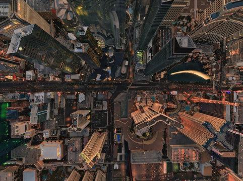 Aerial view above Las Vegas, USA