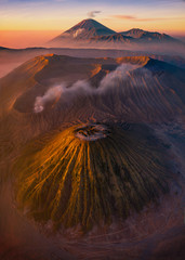 Aerial view of Mount Bromo, East Java, Indonesia.
