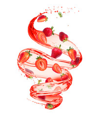 Fototapete - Strawberries in splashes of juice in a swirling shape, isolated on white background