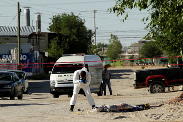 A forensic technician works at a crime scene where the body of a woman was left by unknown assailants, in Ciudad Juarez