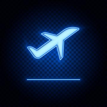 Plane, take off blue neon vector icon