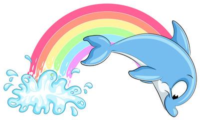 Niedlicher Delfin mit Regenbogen - Vektor-Illustration