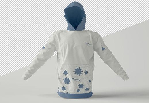 Hoodie Sweatshirt Mockup on Solid Background
