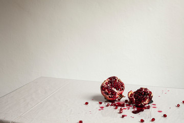 Cross-section smashed pomegranate