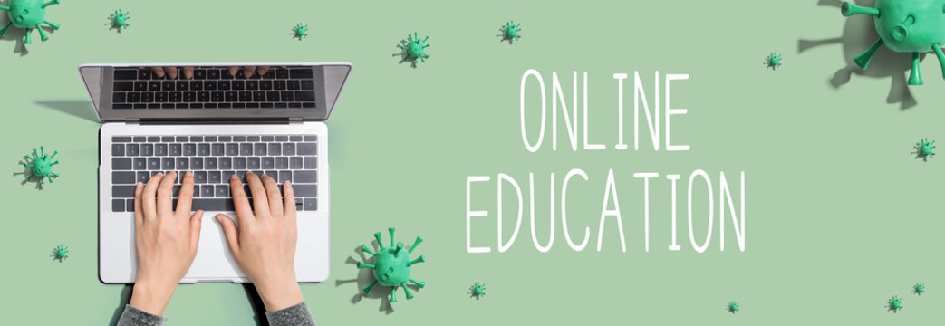 Online education with person using a laptop computer