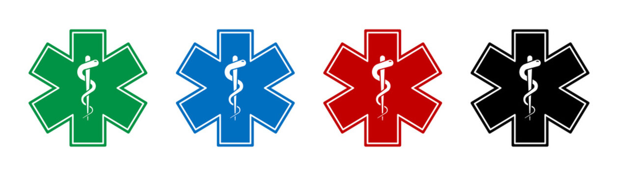 Emergency medical symbol. Vector isolated medical signs icons with snake. Medical star symbols. Star of life signs.