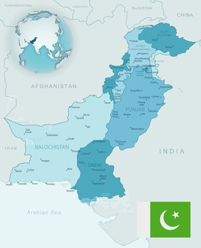 Blue-green detailed map of Pakistan administrative divisions with country flag and location on the globe.