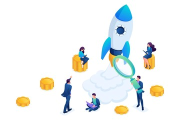 Isometric concept of investing in startups, rocket launch, young entrepreneurs. Concept for web design
