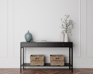 Wood Console Cabinet Contemporary Modern Foyer Living Room Blank Empty Wall Copy Space