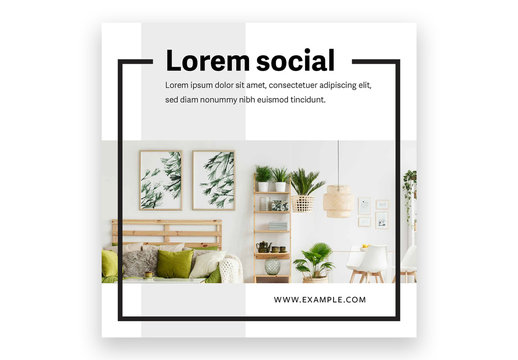 Minimalistic Social Media Post Layout with Black Frame