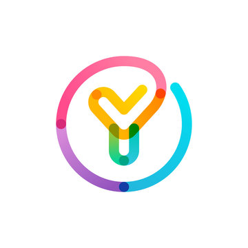 Y letter logo in a rainbow gradient circle. Impossible one line style.