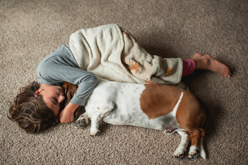 Young girl laying on the floor in blanket with basset hound dog