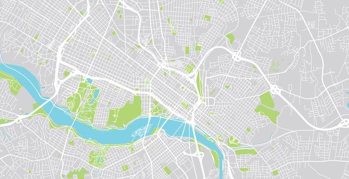 Urban vector city map of Richmond, USA. Virginia state capital