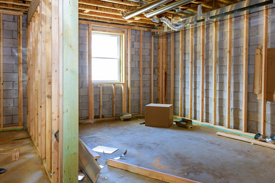 Basement framing construction interior frame of a new house