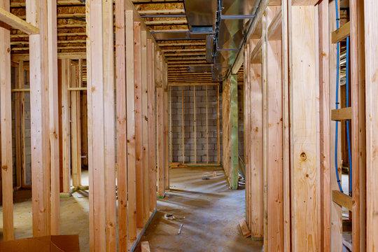 Basement framing construction interior frame of a new house