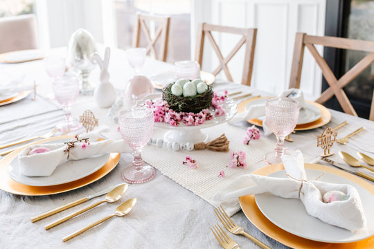 Easter tablescape with pink touches and eggs