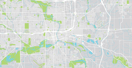 Urban vector city map of Des Moines, USA. Iowa state capital
