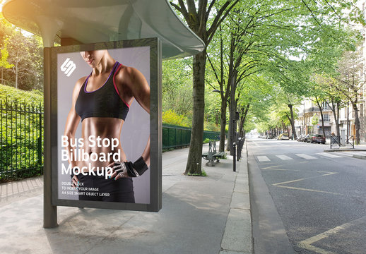 Billboard in Bus Stop Mockup