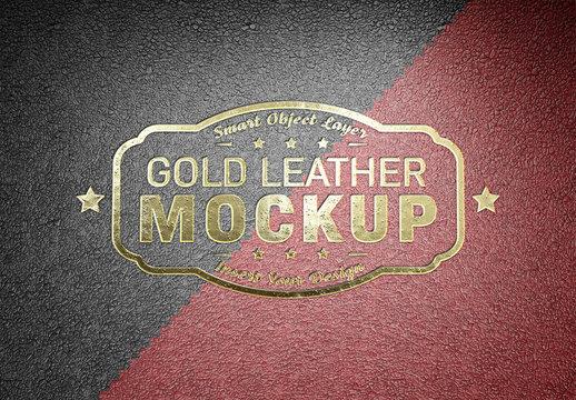 Embossed Gold Logo Mockup on Leather