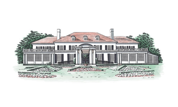Vector illustration with Georgian style mansion, country estate. Historic Building with Hipped-roof Colonial Revival, with third-story dormers. In front of the house - beautiful formal gardens.