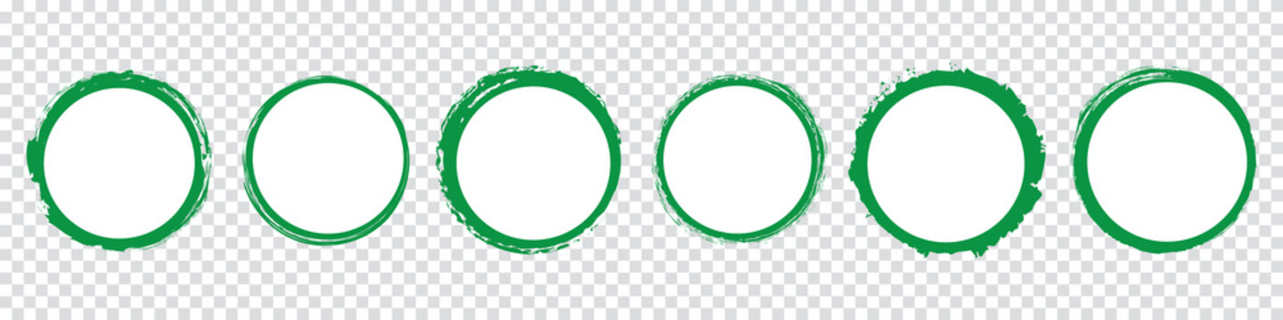 set of green round banners - brush painted circle on transparent background