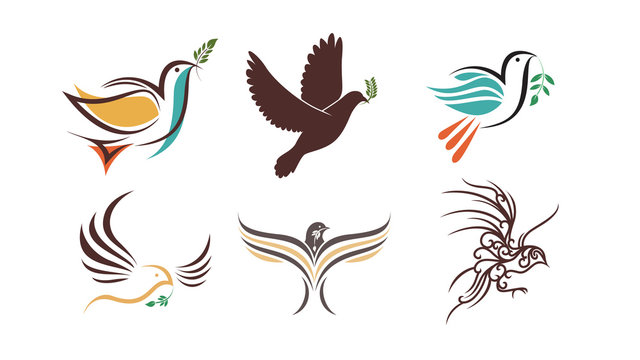 Flying dove with green branch. Flat design style vector illustrations set of icons and logos. Icon or logo template. Geometrical cute bird illustration.