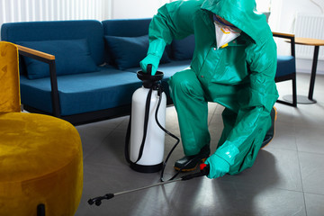 Careful man in hazmat suit working on apartment disinfection stock photo