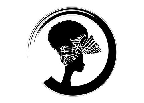 portrait beautiful African woman Afro curly hair in traditional bandana, black women vector silhouette isolated , round logo design hairstyle concept , headdress Afro style icon