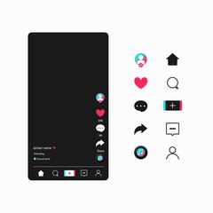 Fototapeta Social media templates modern design buttons web application. Set icons: search, story, like, share, hashtag, user, comment, note, home, plus. Mockup web symbols, app, ui. Vector illustration. EPS 10 obraz
