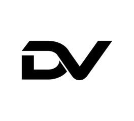 Initial 2 letter Logo Modern Simple Black DV