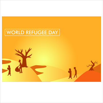 World Refugee Day Vector Illustration. Suitable for background, Greeting Card, Poster and Banner