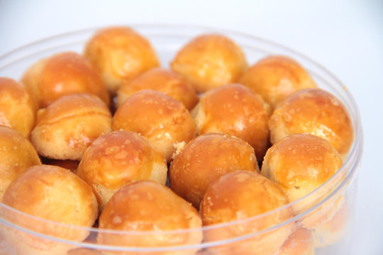 Close up of Pineapple tart, pastries filled with pineapple jam