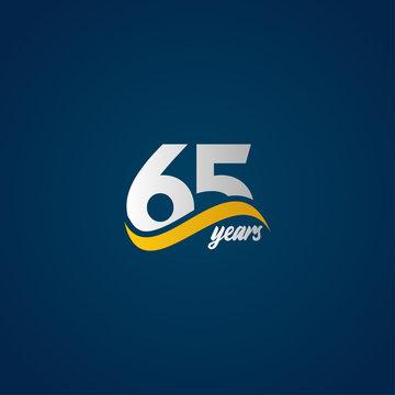 65 Years Anniversary Celebration Elegant White Yellow Blue Logo Vector Template Design Illustration
