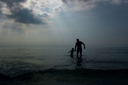 Silhouette Man And Child On Beach Against Sky
