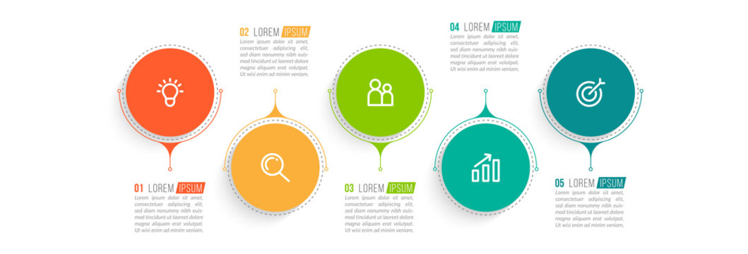 Minimal infographic template design with numbers 5 options or steps.