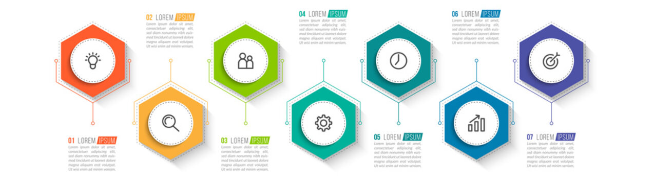Minimal infographic template design with numbers 7 options or steps.
