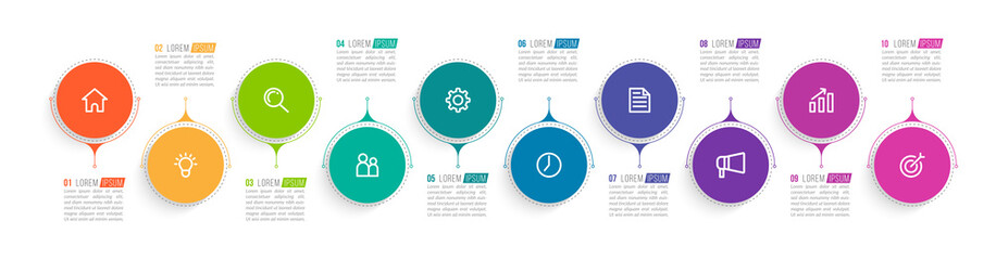 Minimal infographic template design with numbers 10 options or steps.