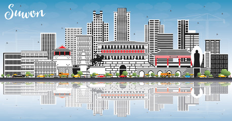 Wall Mural - Suwon South Korea City Skyline with Color Buildings, Blue Sky and Reflections.
