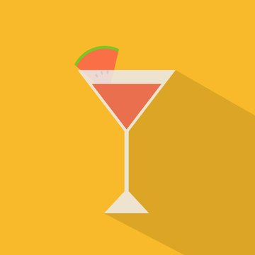 flat design watermelon red cocktail