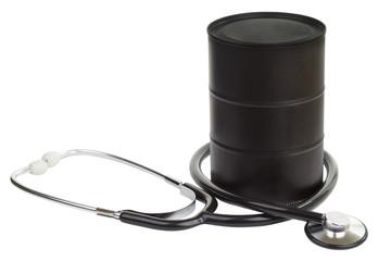 stethoscope with Black metallic oil barrel