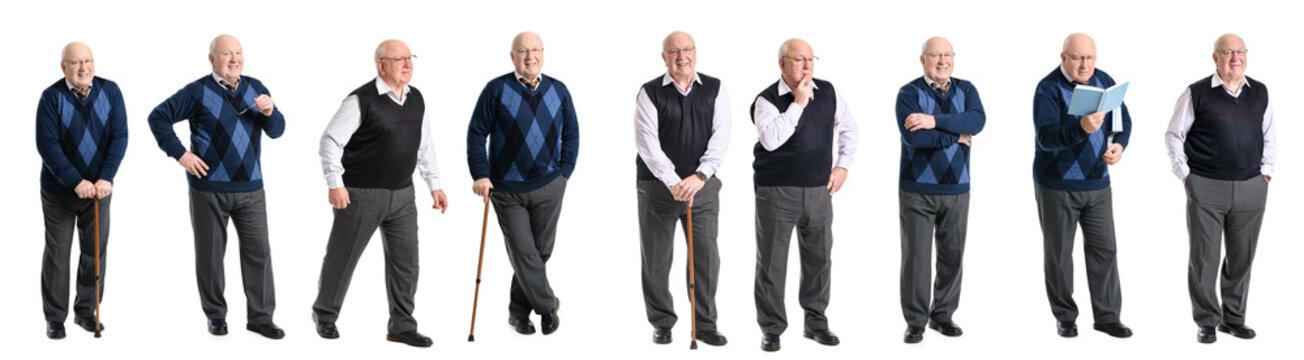 Collage with elderly man on white background