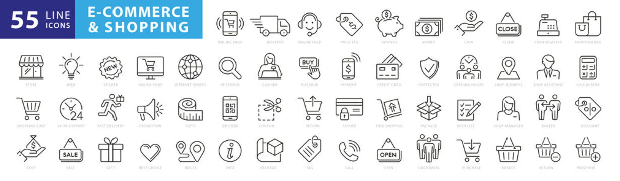 Set of 50 E-commerce and shopping web icons in line style. Mobile Shop, Digital marketing, Bank Card, Gifts