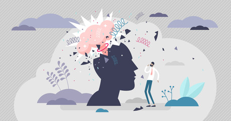 Obraz Head explode vector illustration. Mind blowing flat tiny persons concept. - fototapety do salonu