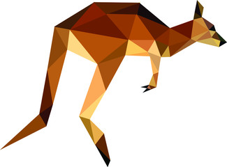 Printed roller blinds Ass Jumping kangaroos symbol, polygon, on a white background