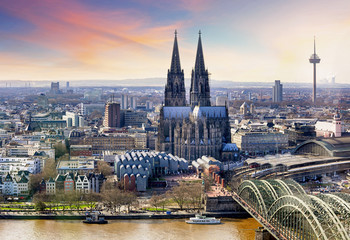 Poster Northern Europe Cologne Cathedral and Hohenzollern Bridge at sunset - night