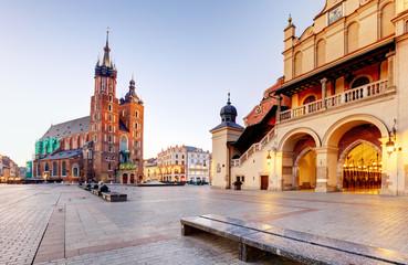 Historic Krakow Market Square in the Morning, Poland Fototapete