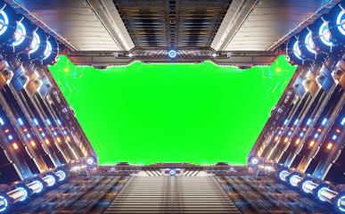 Fototapete - Orange and blue futuristic spaceship interior with green window 3d rendering